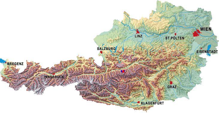 Die Österreich-Umrisse auf der Landkarte ...