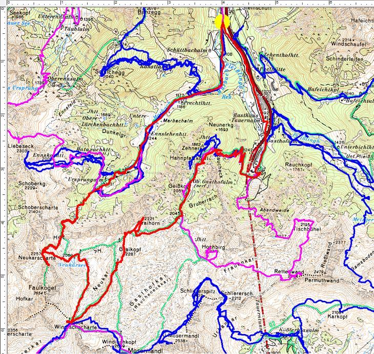 Rot die aktuelle Runde über 25 Kilometer und 1.650 Höhenmeter. Pink sind frühere Sommertouren, blau frühere Wintertouren.