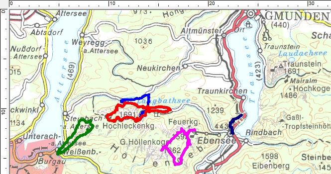 Unsere bisherigen Wandertouren zwischen Traunsee und Attersee