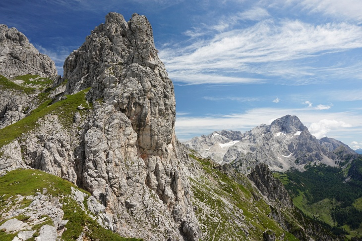 Ausblick zum Torstein. Zwischen der Kamplbrunnspitze und dem ca. 140 Meter niedrigeren Kamplbrunn-Felsen ...