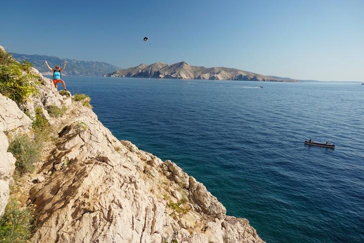 Am Weg zurück nach Baska: Schmierige Felsen erfordern etwas Vorsicht.