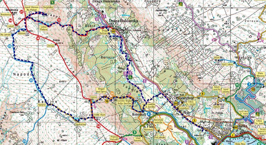Unser ungefährer Routenverlauf über den Obzova blau strichliert.