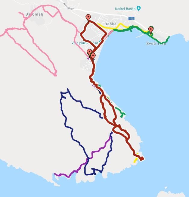 Unsere bisherigen Wandertouren am Südende der Insel Krk. Rot ist die aktuelle Wandertour über Ljubimer und Bag zum Leuchtturm Rt Skuljica.