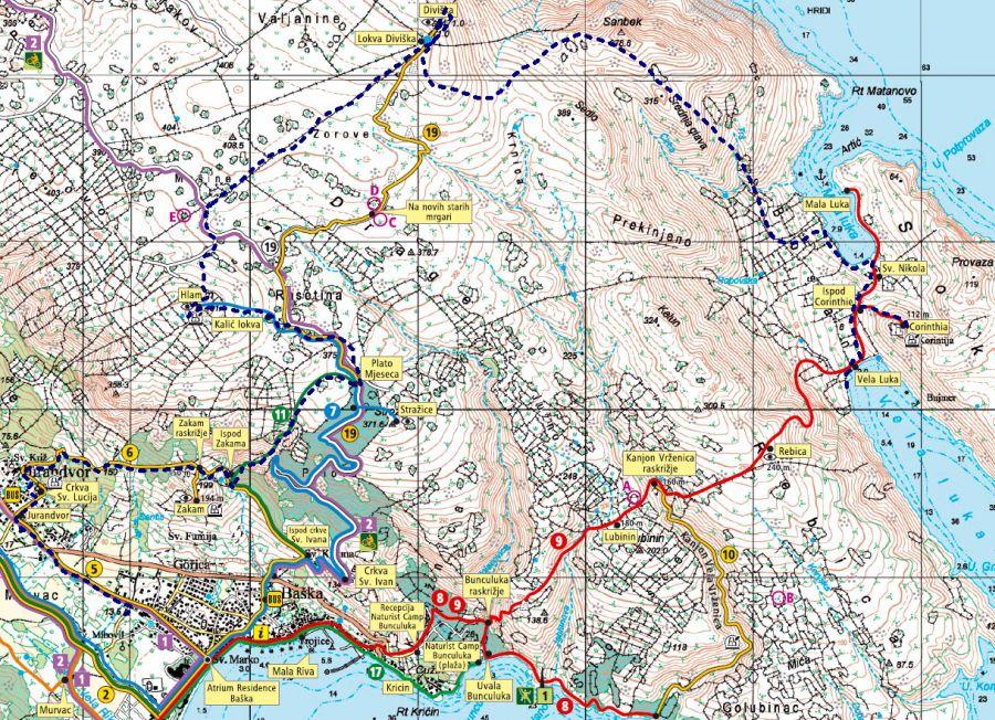 Blau strichliert der ungefähre Routenverlauf 2019: Baska - Jurandvor - Ispod Zakama - Plato Mjeseca - Kalick lokva - Hlam - Lokva Diviska - Diviska - Mala Luka - Cornthia - Vela Luka