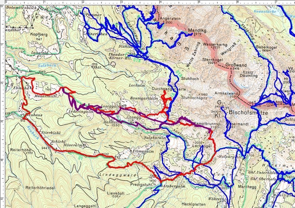 Zum Gosaukamm sollte es gehen. Rot die Route über den Kamplbrunn, violett die Kamplbrunn-Skitour, blau sind frühere Touren im Gosaukamm.