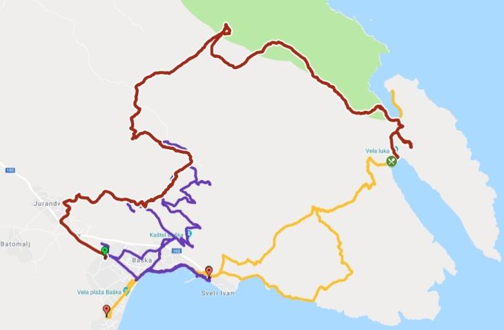 Unsere bisherigen Wandertouren Richtung Hlam bzw. Vela/Mala-Luka (rot die aktuelle Route)