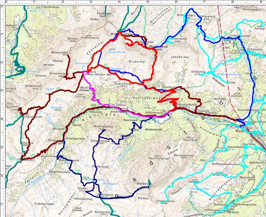 Heute bin ich zum 5. Mal durch das Riedingtal aufgebrochen (rot). Dunkelrot meine erste Mosermandl-Überschreitung 2005.
