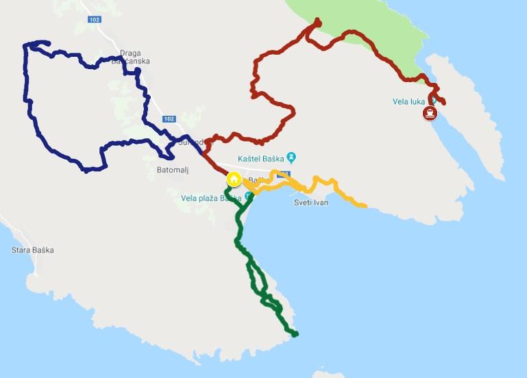 Unser Basislager im Zentrum: Blau=Obzava im Nordwesten, Rot=Diviska/Mala Luka im Nordosten, Orange=Uvala Storisce im Südosten, Grün=Leuchtturm Skuljica im Südwesten (die Farben haben nichts mit den offiziellen Wandermarkierungen zu tun).