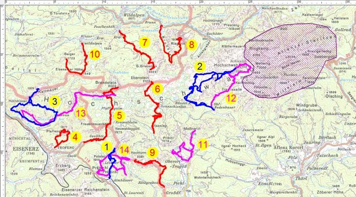 Meine bisherigen Wanderungen im Hochschwabgebirge (violett-schraffiert ist von mir noch unberührt)