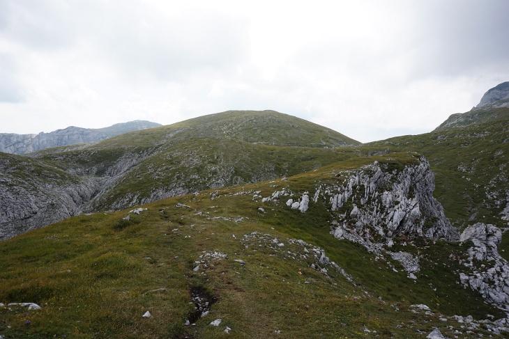 """Im Weihbrunnkessel entschied ich mich dann doch noch einmal anders. Ich wollte es zumindest """"sportlich"""" sehen und einige Höhenmeter Richtung Hochschwab wandern. Mein GPS machte mich darauf aufmerksam, dass dieser unscheinbare Hügel nebst dem markierten Wanderweg einen Namen hat und immerhin über 2.000 Meter Höhe aufweisen kann. Also steuerte ich mein letztes Ziel für heute an - den von einem Steinmandl gekrönten Rotgangkogel."""