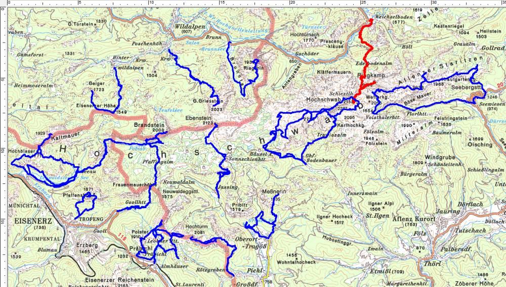 Rot = aktuelle Ringkamp-Tour, blau = frühere Wanderungen im Hochschwabgebirge.