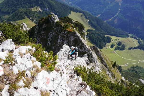 Aufstieg über den Ostgrat am Klettersteig