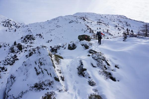 Beim Aufstieg ließen wir die Schneeschuhe noch am Rucksack. Oberhalb von etwa 1.700 Meter Seehöhe wurde es aber allmählich mühsam.
