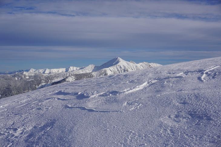 Blick zum Gumpeneck, Schneeschuh-Gipfelziel vor 2 Wochen.