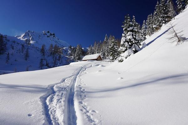 700 Höhenmeter muss man bei dieser Tour zurücklegen, ehe man bei der Hangofenhütte in die Sonne gelangt. Dafür wird man aber auch häufig mit tollem Pulverschnee belohnt.