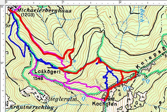 Kochofen Routen 2019: Rot=Schitour am 24.12.2019. Blau=Schneeschuhtour am 08.12.2019. Pink=Schitour am 10.02.2019.