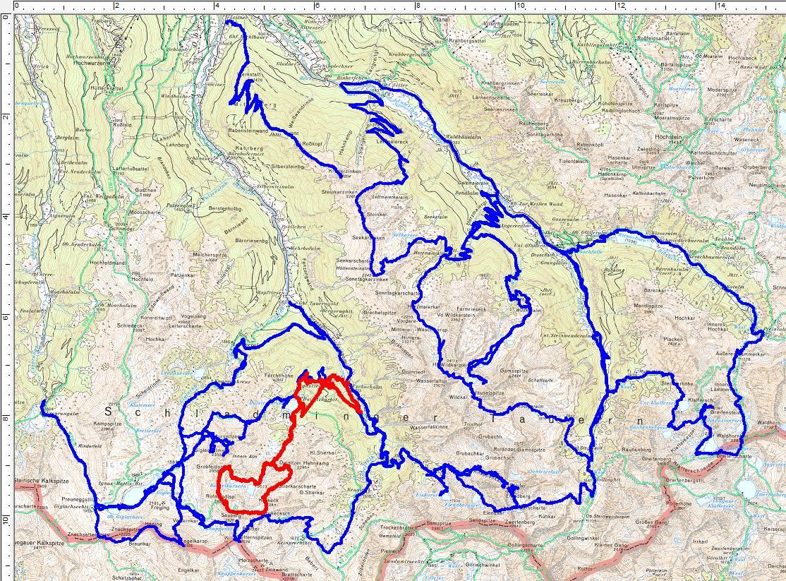 """12 Jahre - 12 Touren. Rot ist die Runde über die Grobfeldspitze (beim Aufstieg spielte das GPS etwas verrückt - so """"geradlinig"""" sind wir definitiv nicht gegangen)"""