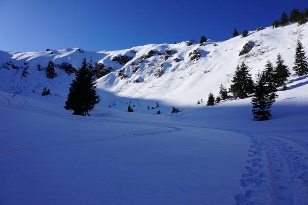 Das Los einer Pulverschnee-Tour: Meist wandert man im frostigen Schatten.