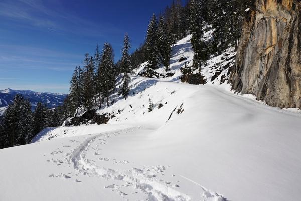 Die schlechten Schneeverhältnisse bei der letzten Tour auf den Karlspitz waren Pech. Heute war es meine eigene Schuld. Die Sonne machte den Neuschnee rasch sehr feucht, patzig und anstollend.