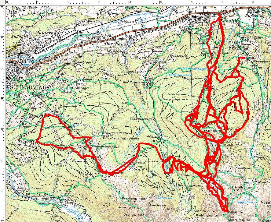 Aus allen Himmelsrichtungen auf den Hauser Kaibling. 1 Tour teilt er sich mit der Planai. (5 Spaziergänge, 7.920 Höhenmeter, 95 Kilometer)