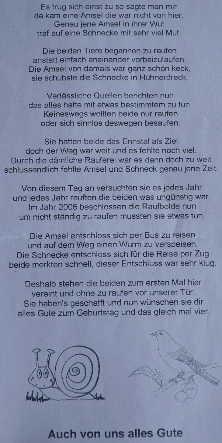 Gedicht von Amsel und Schneck
